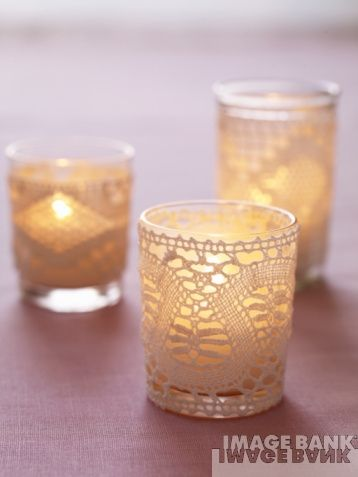 lace wrapped votive holders – I'd like to add a little lace to the table decor, it gives a little vintage