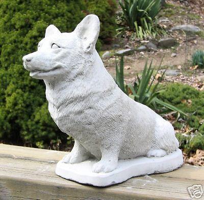 CONCRETE WELSH CORGI PEMBROKE DOG STATUE MONUMENT Gift