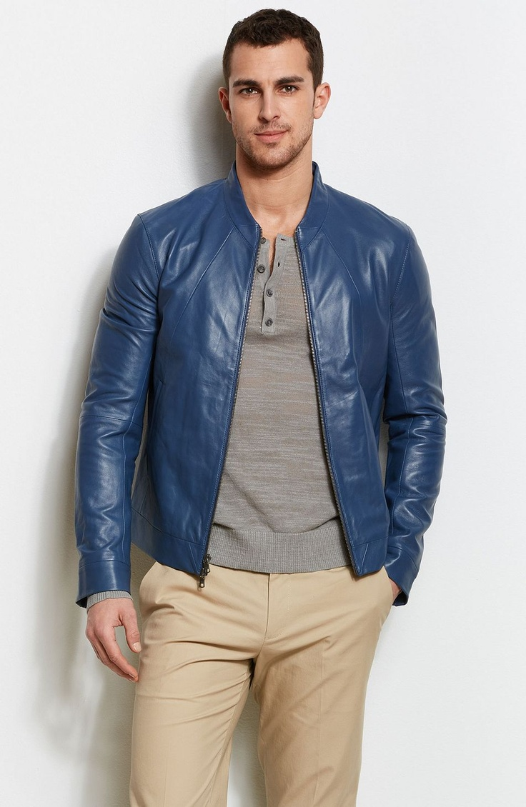 Seamed Leather Jacket Jackets & Blazers Mens Armani