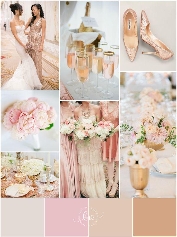 Glamorous Rose Gold, Blush Pink, Gold and White via @Giselle Pantazis Howard Sayers Wed