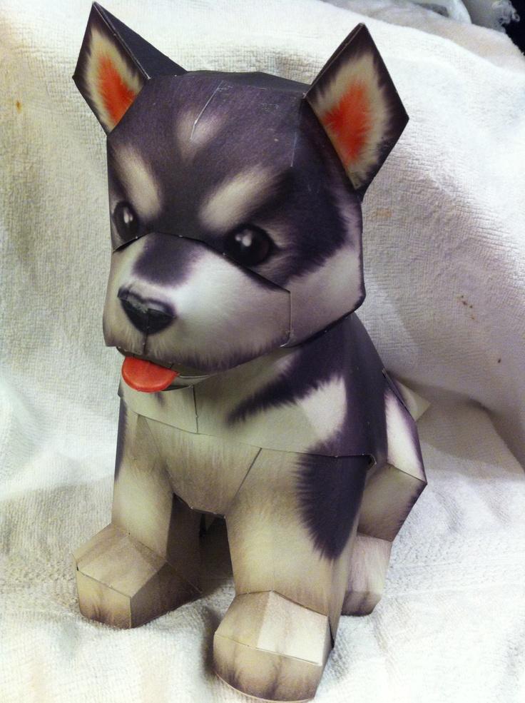 3d Paper Craft Alaskan Malamute Snow Dog Treasures and