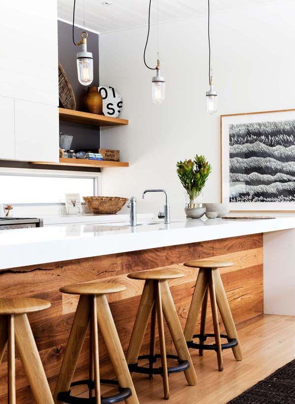 wood + white kitchen.: