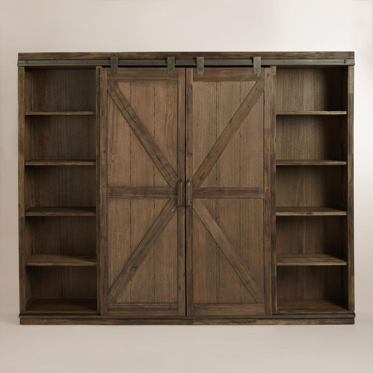 Wood Farmhouse Barn Door Bookcase Barn Doors Metal