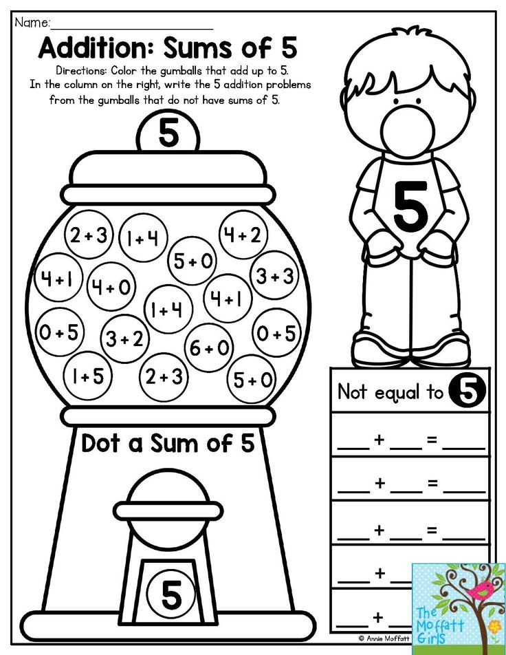 Bubble Gum Numbers Addition Sums of 5. Color the