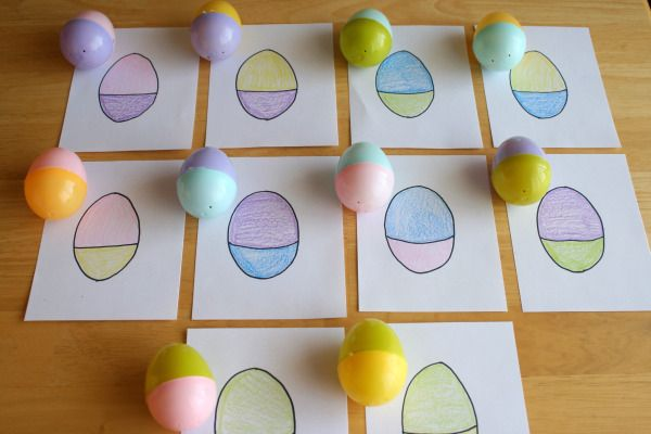 Easter holiday kids activity game idea. Mix and Match your plastic eggs for a fun preschool game!! Could also be cute Easter