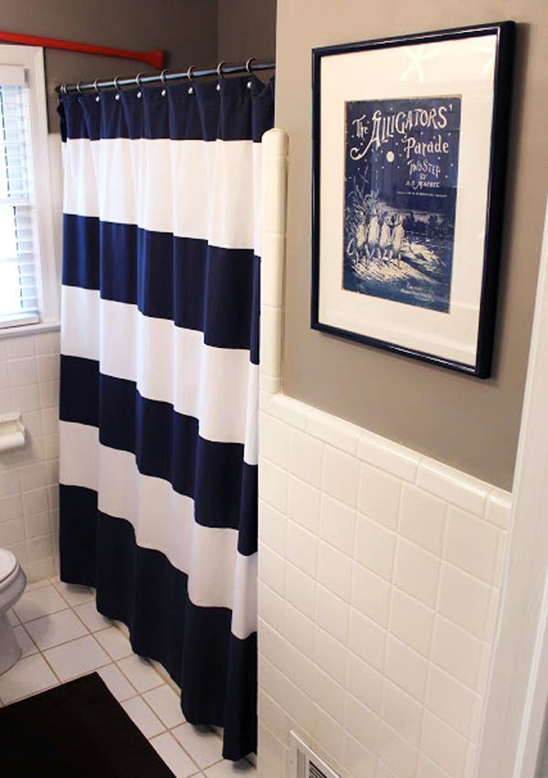 nautical bathroom curtain | blue nautical shower curtain west elm, add bright colored towels (pink …
