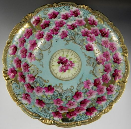 "Nippon Round 10"" Bowl Gold Pink Flowers on Blue:"