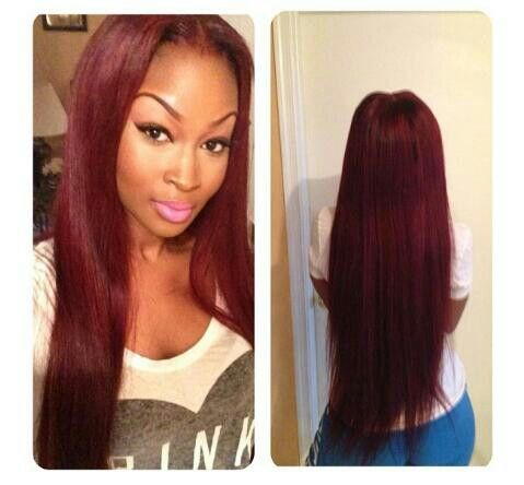 long hair burgundy hair color red hair sew in make up eyebrows pretty for the love