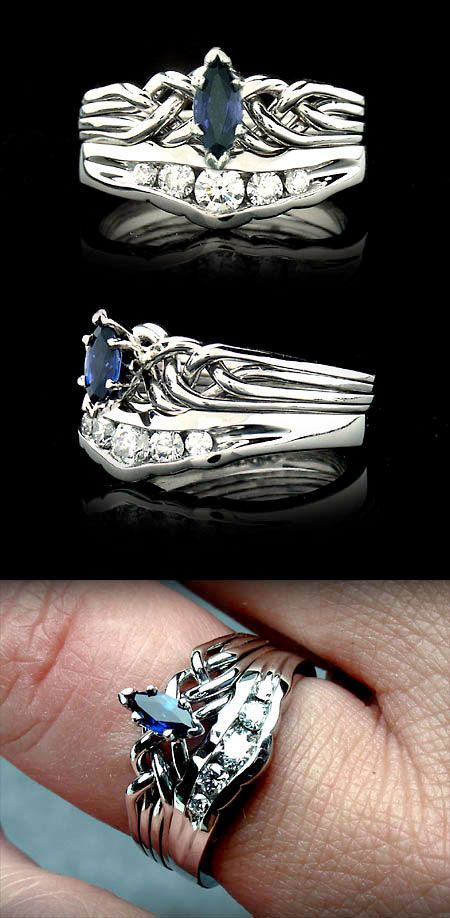 Marquise Sapphire Puzzle Engagement Ring With Channel Set