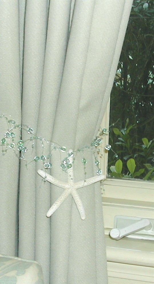 Beach Decor 2 Curtain Tiebacks With Natural Starfish Choose Sea Foam Green Or Turquoise