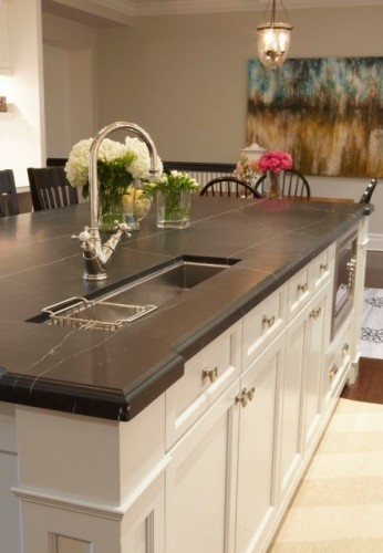 Honed Nero Marquina Chemically Etched Kitchen