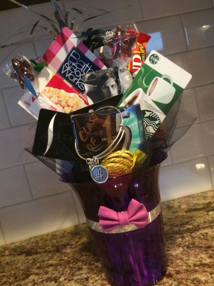 8th grade girl graduation gift card bouquet used colors