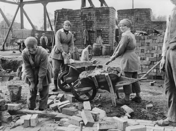 Women rebuilding. WW1 by G P Lewis (MOI official