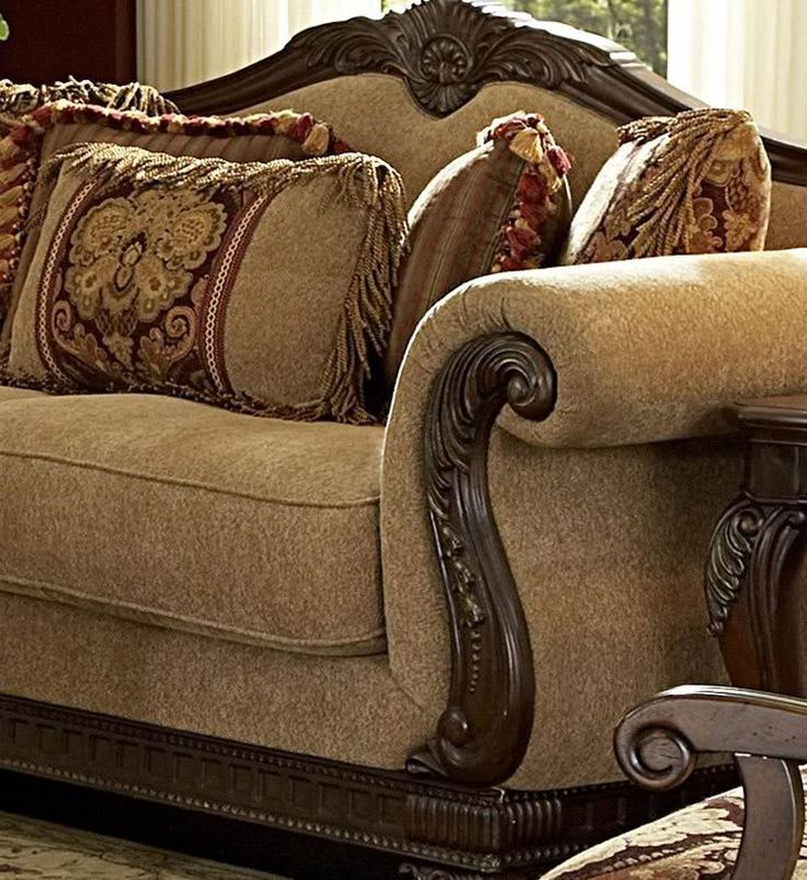 Traditional Living Room Fabric And Wood Trim Curved Sofa Odessa Traditional Wood Trim