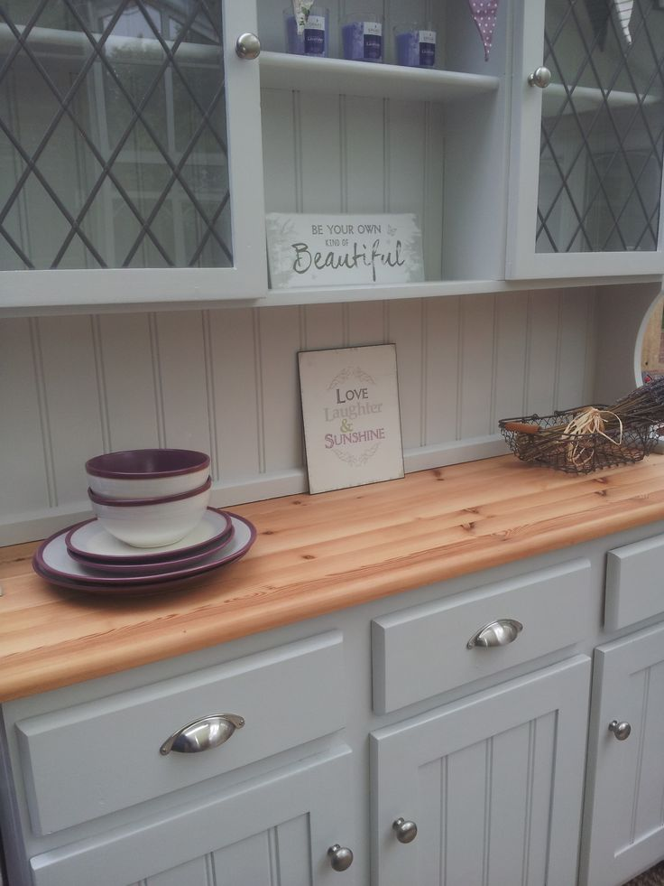 Painted Welsh Dresser Farrow And Ball Dimpse Re Loved By Farmhouse Vintage Inspiring Ideas