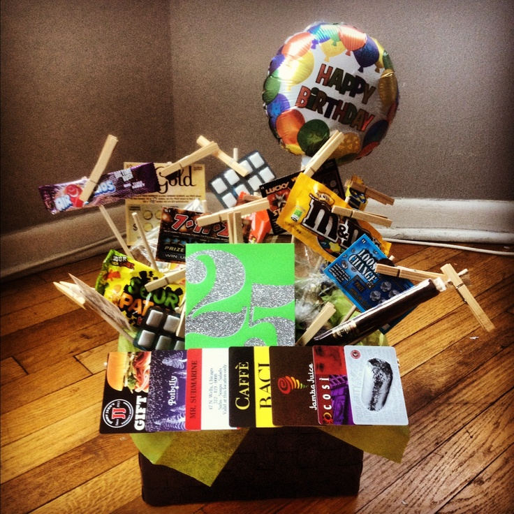"""""""25 gifts"""" gift basket I made for Kyle's 25th birthday"""