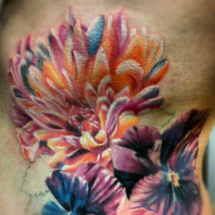 Chrysanthemum tattoo love the contrast and depth of this