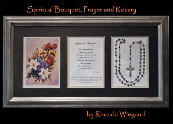12x24 Framed Spiritual Bouquet Prayer And Rosary By