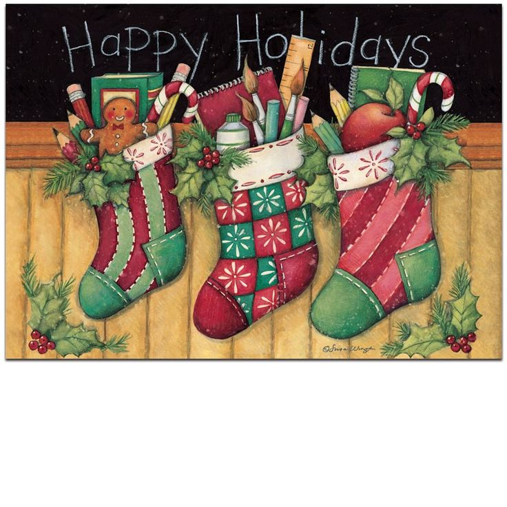 Happy Holidays Stockings Personalized Christmas Cards