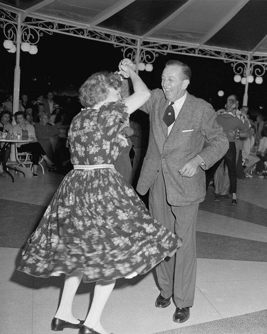 """1958 Photo: Walt Disney Dances The Night Away at Disneyland Park"" Carnation Plaza Gardens #disney #waltdisney #disneyland:"
