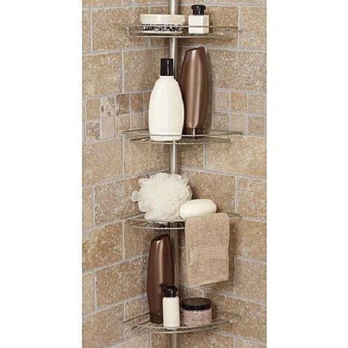 Bath Shower Caddy Corner Tension Rod Bathtub Soap Shampoo