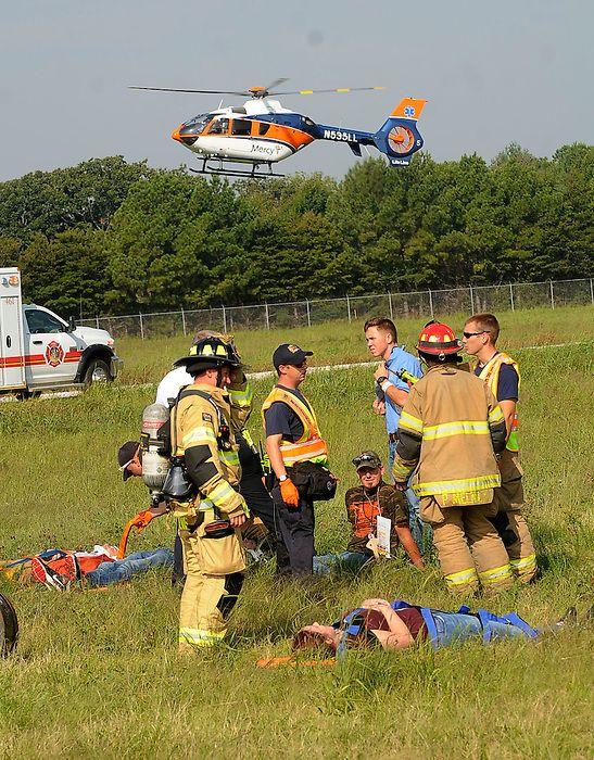 STAFF PHOTO FLIP PUTTHOFF A medical helicopter lands at