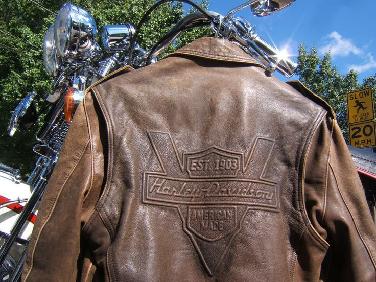 HARLEY DAVIDSON BROWN HERITAGE LEATHER JACKET SMALL