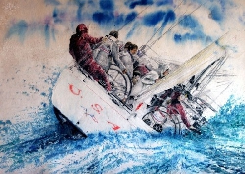 Americas Cup Racing Yacht Painted With Watercolor On
