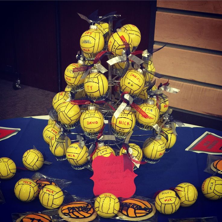 Water polo Christmas ornaments I made for end of season