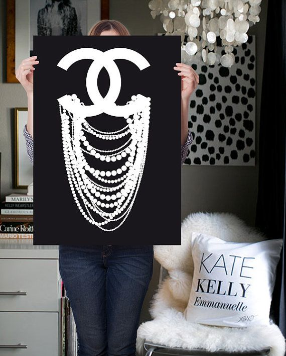 Lol Just To Make It On Canvas Chanel Print Poster Inspired Cc Dripping Pearl Coco Art Wall Decor