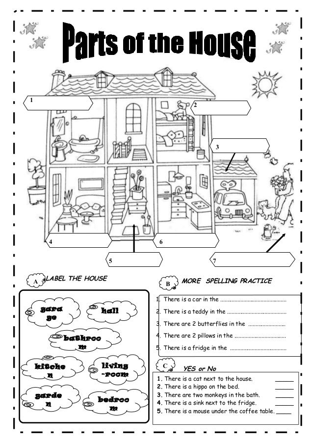 Parts worksheet rooms of a house Pinterest Worksheets