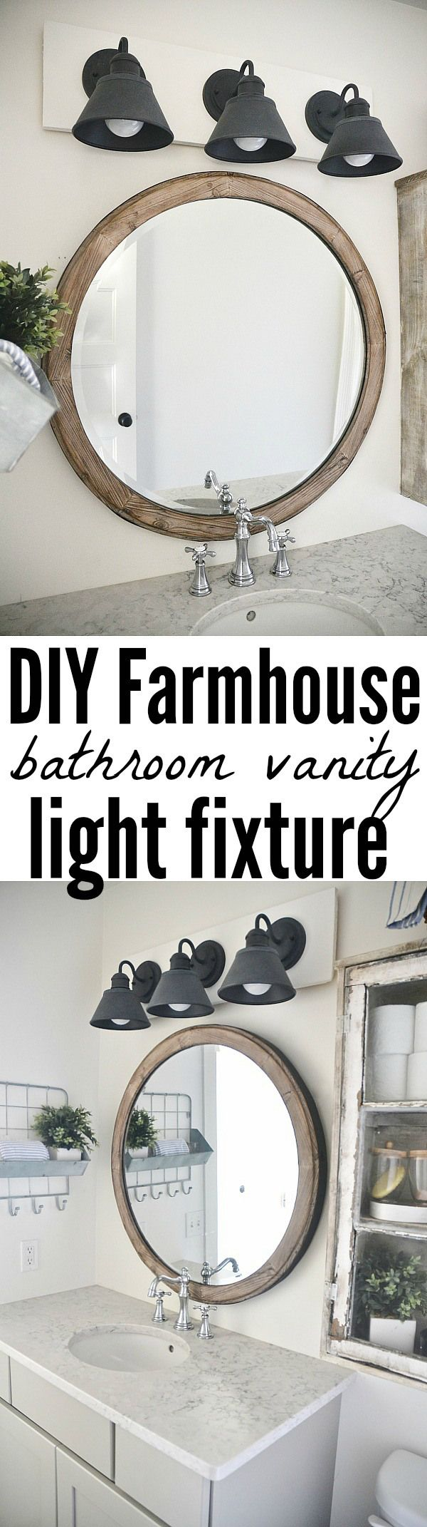 See how to make this super simple farmhouse bathroom vanity light fixture on a budget! It's super easy to make & also super