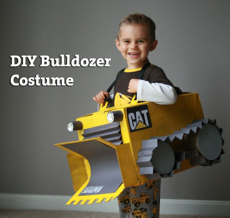 DIY Bulldozer Costume – step by step instructions – so easy and cute!
