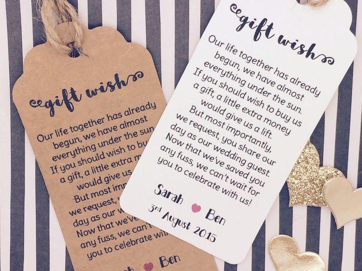 Details About Wedding Gift Wish Money Request Poem Card
