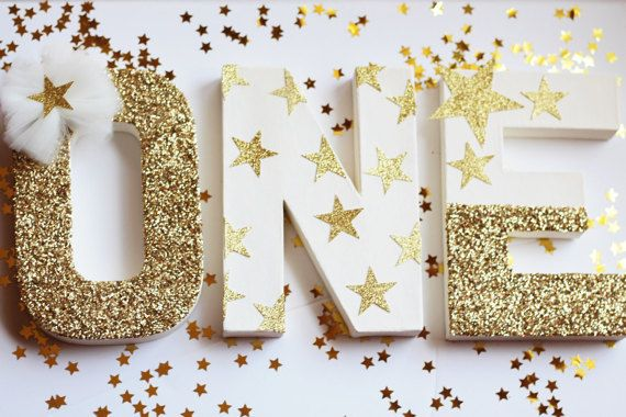 Twinkle Twinkle Little Star Birthday Decorations – Cake Table Letters by PrettyLittlePartyCo