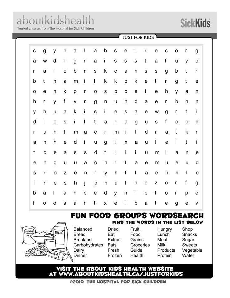 Check out this fun food groups word search! Just For