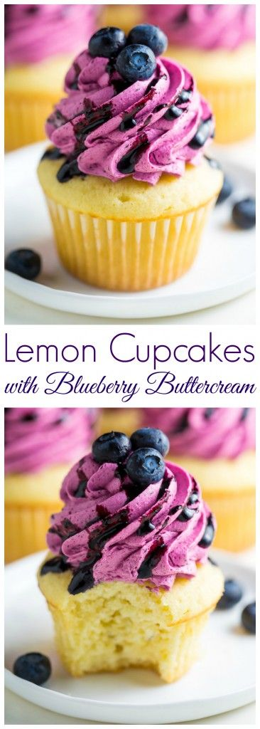 Holy YUM! These Lemon Cupcakes with Fresh Blueberry Buttercream are a must bake th