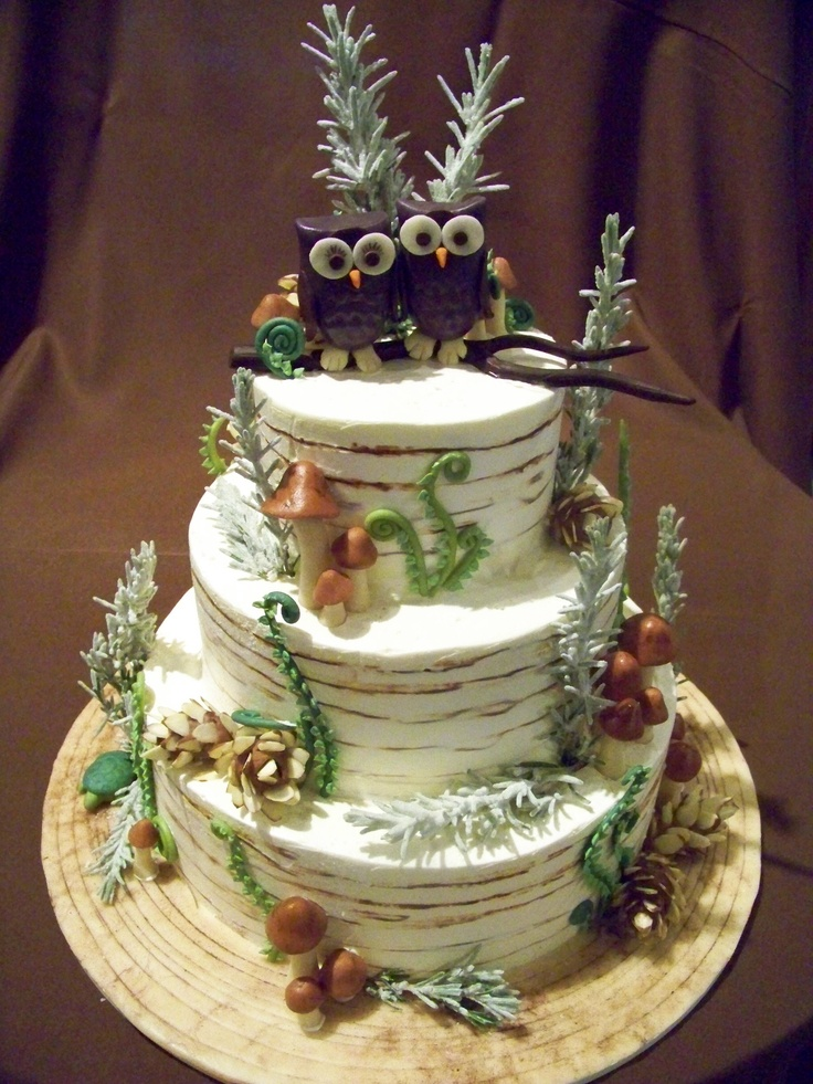 winter forest inspired, with owls wedding cake Cake