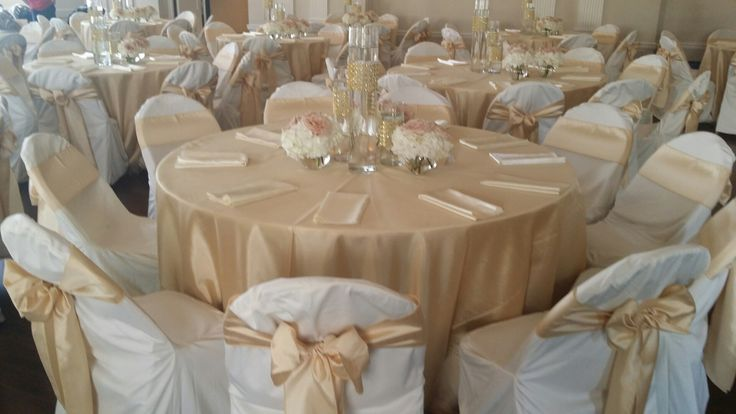 Soft Gold Shantung Tablecloths And Chair Sashes Ivory