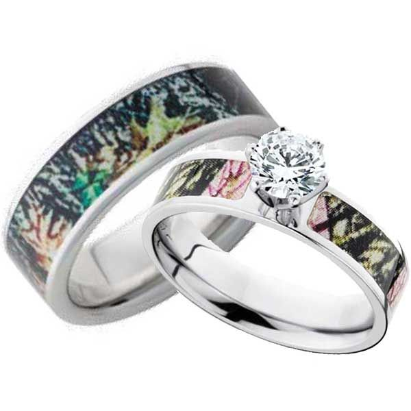 His And Hers CZ Camo Wedding Ring Set Matching Set Camo