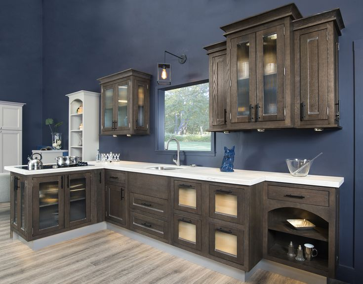 This Dark Brown Kitchen Cabinetry Is Stained With Our Drift Pewter The Sandia Inset Doors Give