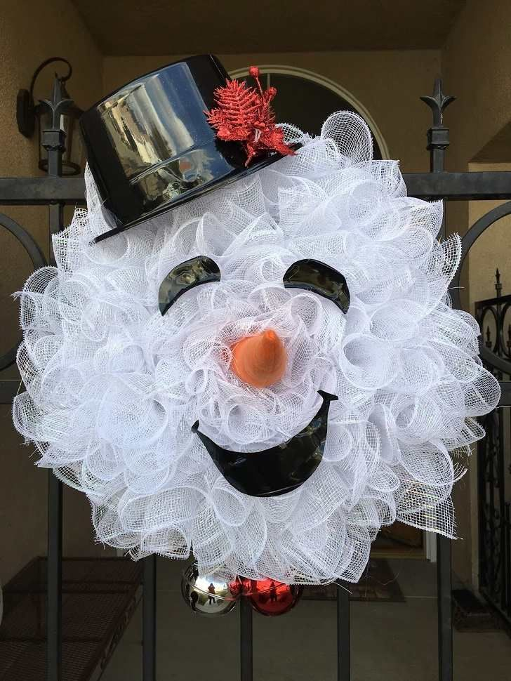 snowman wreath ideas how to make deco mesh snowman wreath