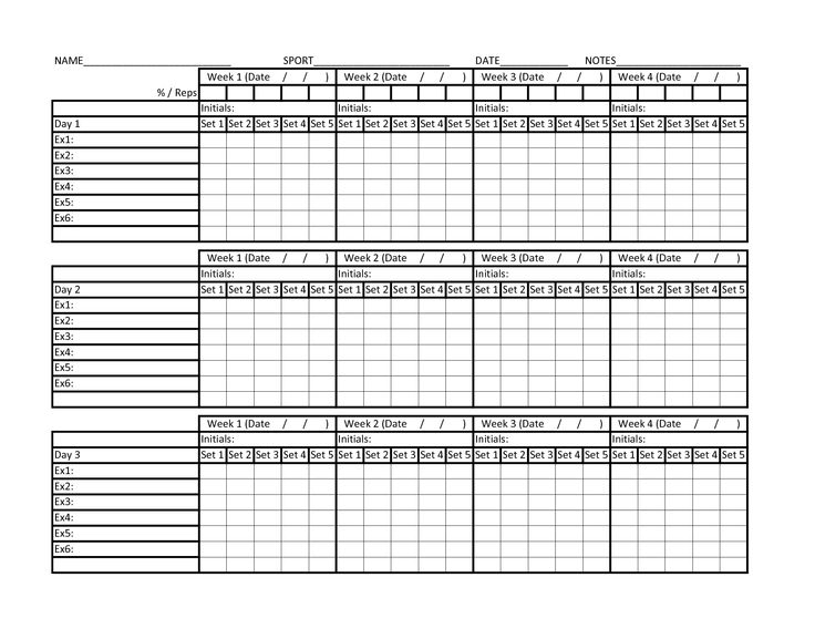 Number Names Worksheets exercise charts free printable : Weight Lifting Chart Template. feed pictures free exercise chart ...