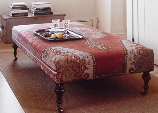 Another Ottoman Covered With A Vintage Oriental Rug It