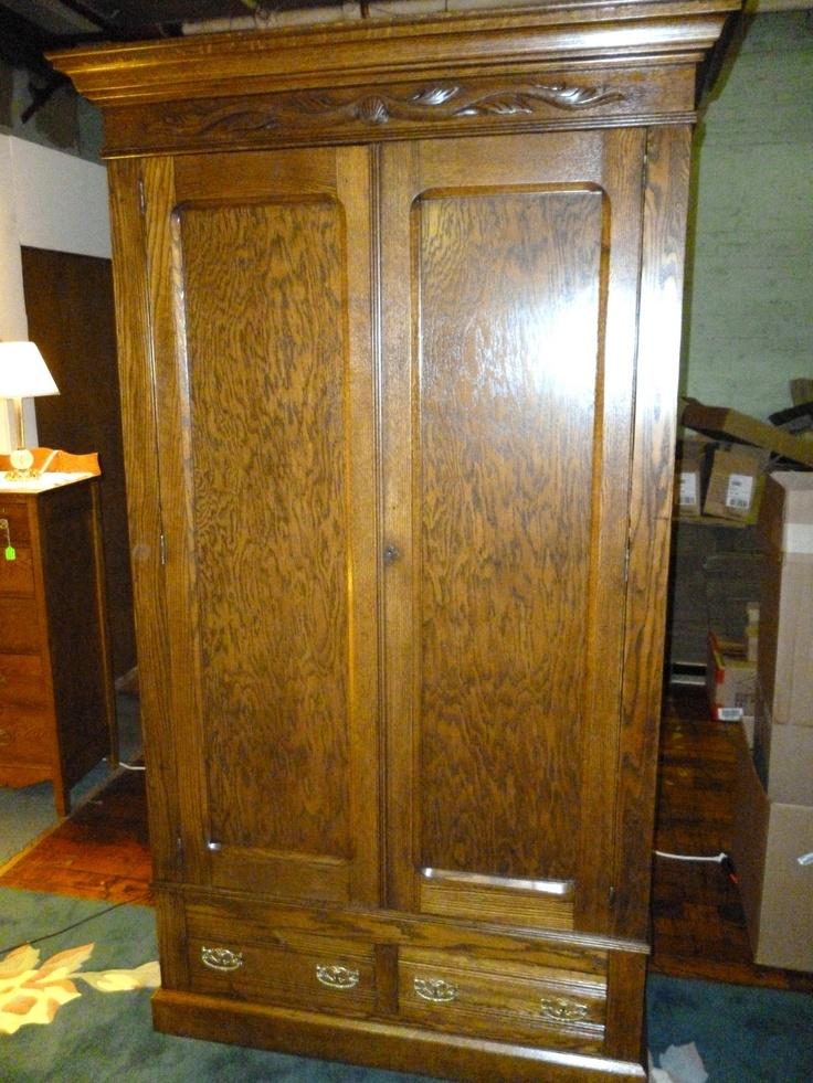 Antique Oak Wardrobe Armoire W Drawers Shelves