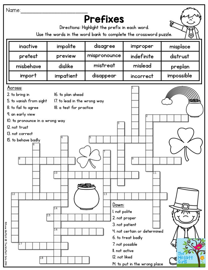 Prefixes Crossword Puzzle Highlight the prefix in each