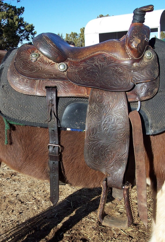 William N Porter Leather Roping Saddle1950s