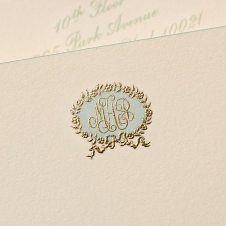 Bespoke Stationery | Ecru Empire Card with Aqua Bevelled Edges and Aqua and Gold Monogram. Not these colors. And not that design.