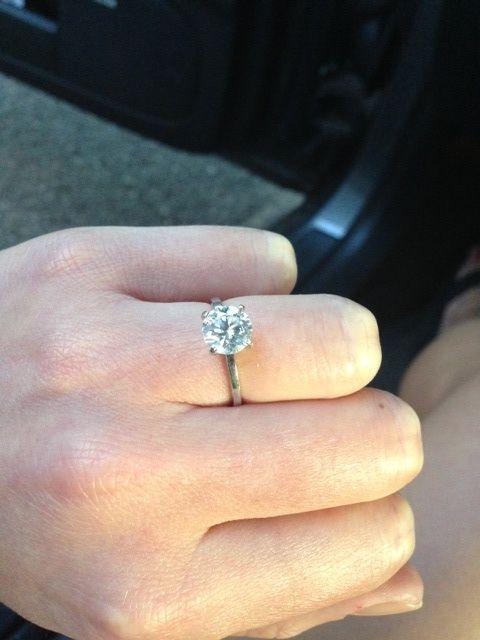 Round Brilliant Diamond Solitaire Thin Band Engagement