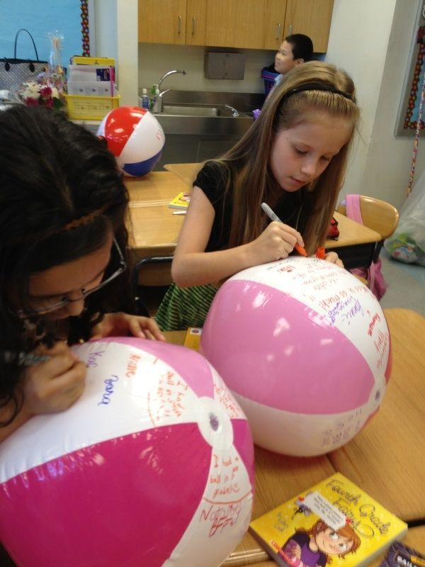 5 End Of Year Student Gift Ideas: Beach Ball Signatures- give each students a beach ball from the dollar store and a sharpie and